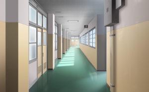 学校廊下のイラスト